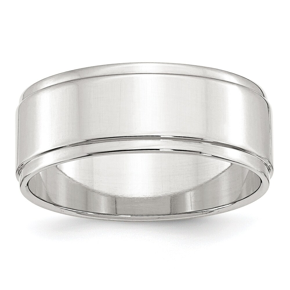 Sterling Silver 8mm Flat With Step Edge Band - White by Versil (13.5)