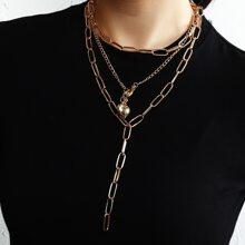 2 piezas collar de cadena colgante de corazon