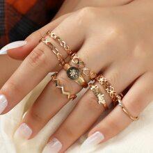 8 piezas anillo con diseño de corazon