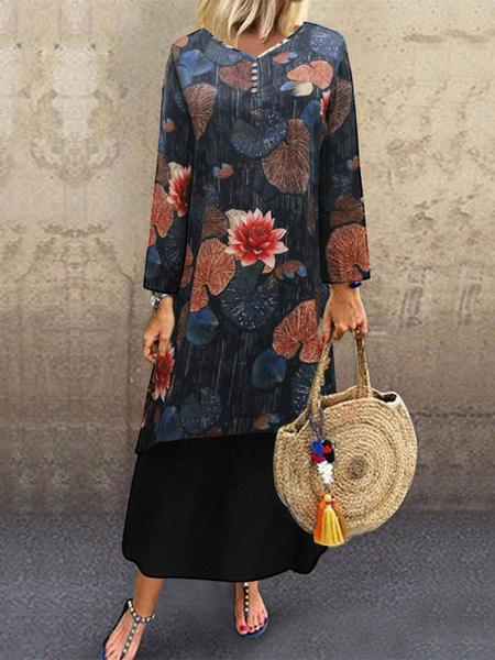 Milanoo Women Maxi Dresses Long Sleeves Black Floral Print V-Neck Shift High Low Design Long Dress