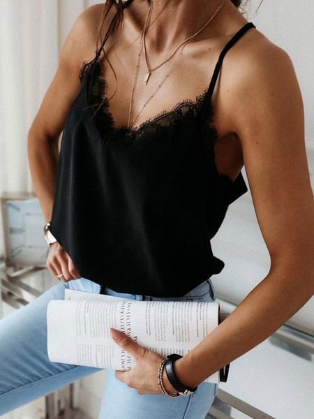 Milanoo Black Cami Top Lace Polyester Sexy Women Camis