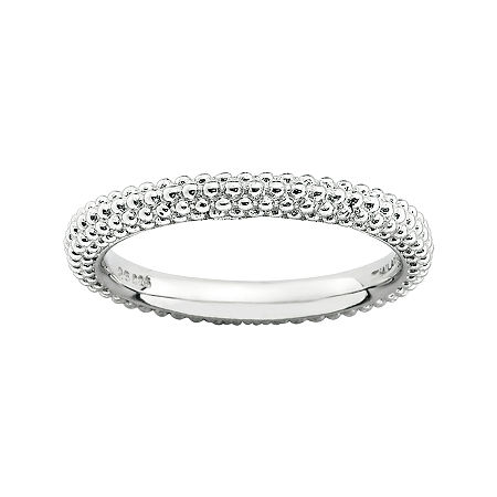 Personally Stackable Sterling Silver Beaded Dome Ring, 6 , No Color Family