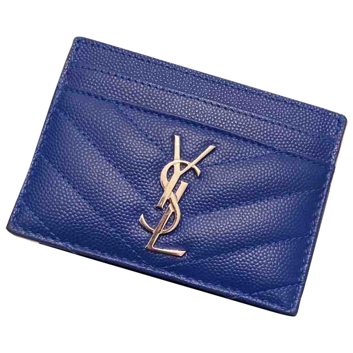Saint Laurent - Petite maroquinerie Monogramme pour femme en cuir - bleu