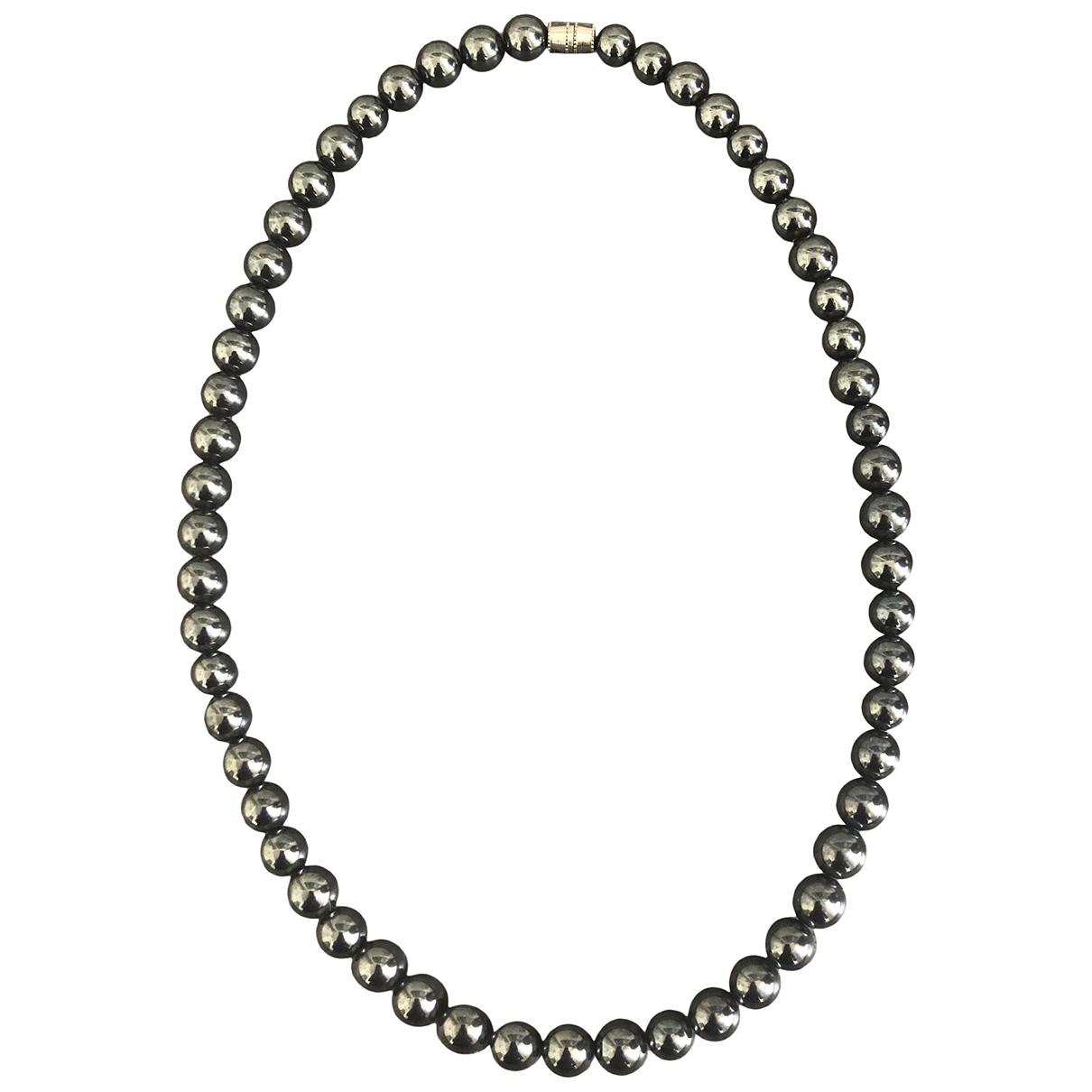 - Collier Art Deco pour femme en perles - noir