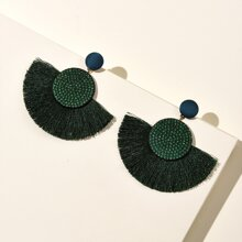 Tassel & Rhinestone Decor Drop Earrings