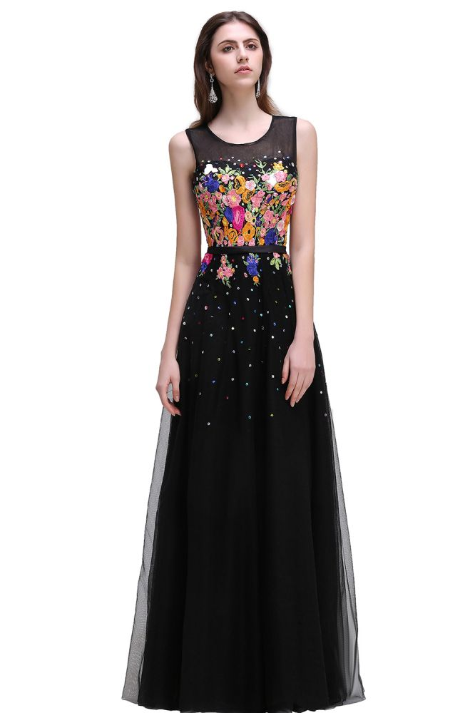 CAMERON | Vestidos de baile A-line de cuello alto de tul negro con flores bordadas