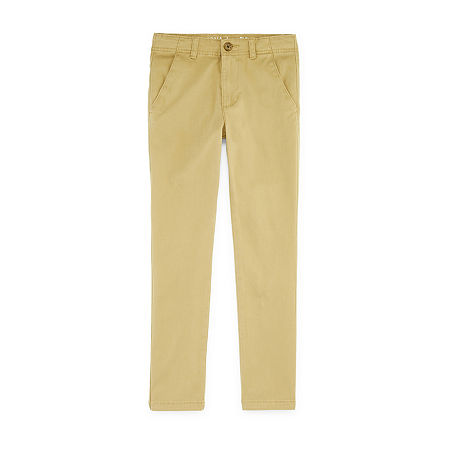 Arizona Little & Big Boys Straight Flat Front Pant, 20 , Beige