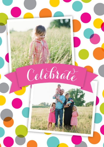 Birthday Greeting Cards Mail-for-Me Premium 5x7 Folded Card , Card & Stationery -Celebrate Colored Polka Dots