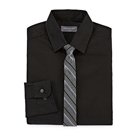 Van Heusen Big Boys Button Down Collar Long Sleeve Shirt + Tie Set, Large (14-16) , Black