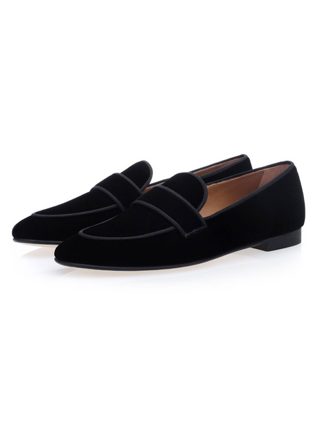 Milanoo Mens Black Loafers Suede Round Toe Slip on Prom Shoes