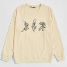 Pullover mit Tiger Muster