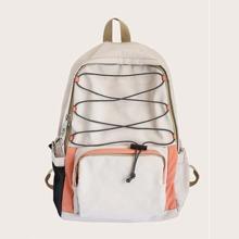 Pocket Front Lace-up Decor Backpack