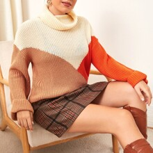 Plus Rolled Neck Chevron Pattern Sweater