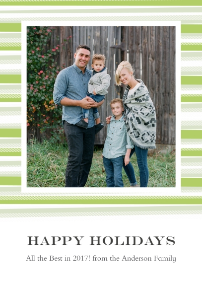 Holiday Photo Cards Flat Matte Photo Paper Cards with Envelopes, 5x7, Card & Stationery -Blanket Border Happy Holidays