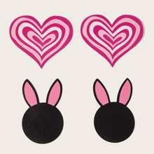 2 pares cubierta de pezon en forma de oreja de conejo