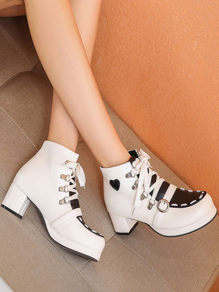 Milanoo Sweet Lolita Boots Round Toe PU Leather Lolita Footwear