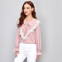 Flounce Sleeve Knot Front Lace Trim Top