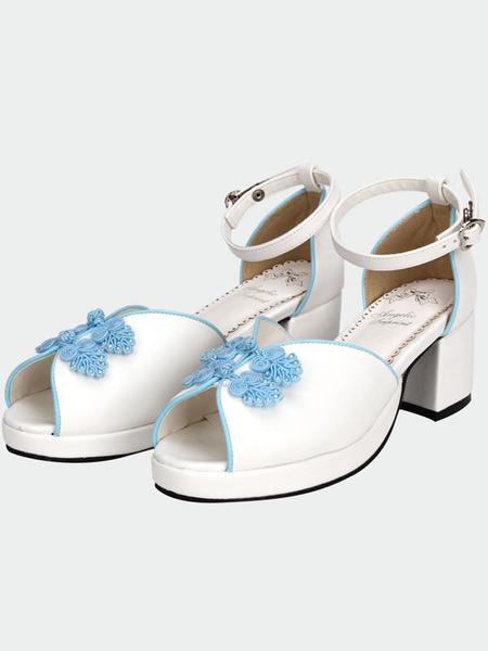 Milanoo White Qi Lolita Sandals Chunky Pony Heels Blue Chinese Style Buttons