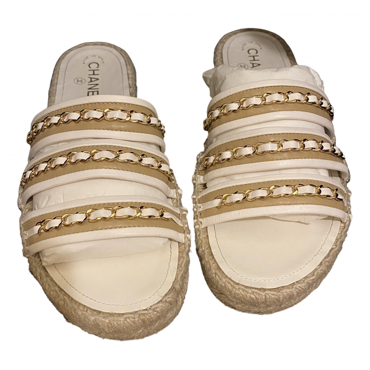 Chanel \N White Leather Mules & Clogs for Women 40 EU
