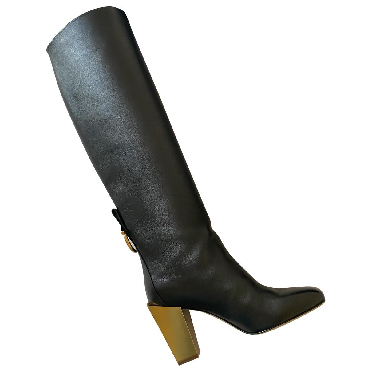 Salvatore Ferragamo - Bottes   pour femme en cuir - noir