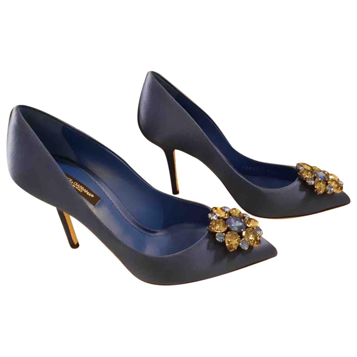 Dolce & Gabbana Taormina Blue Cloth Heels for Women 37.5 EU