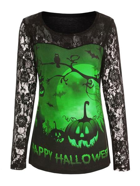 Milanoo Las camisetas negras de Halloween imprimieron la camisa del poliester del cuello de la joya del cordon para las mujeres