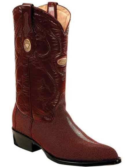Men's Leather Burgundy J Toe Handmade Boots Replaceable Heel Cap