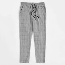 Men Chain Detail Slant Pocket Plaid Pants