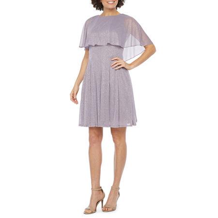 J Taylor Short Sleeve Embellished Cape Fit & Flare Dress, 6 , Purple