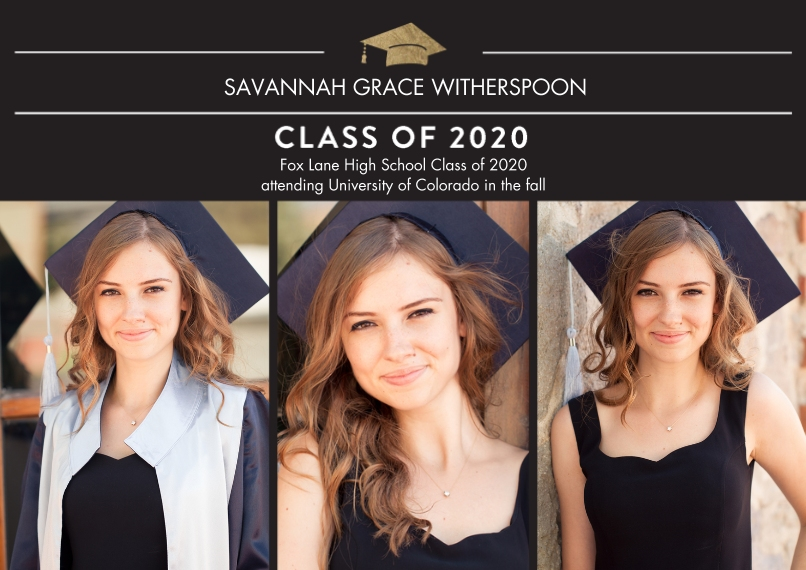 2020 Graduation Announcements Flat Matte Photo Paper Cards with Envelopes, 5x7, Card & Stationery -2020 Traditional by Tumbalina