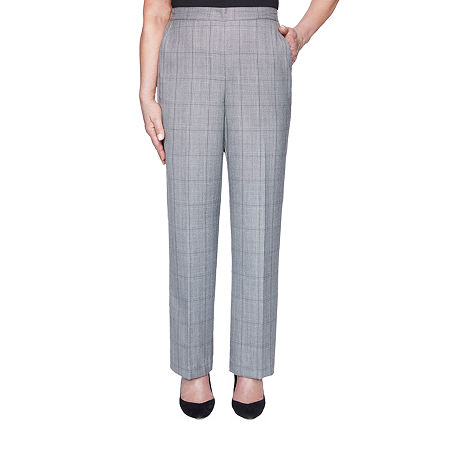 Alfred Dunner Madison Avenue Womens Straight Pull-On Pants, 14 Petite , Gray