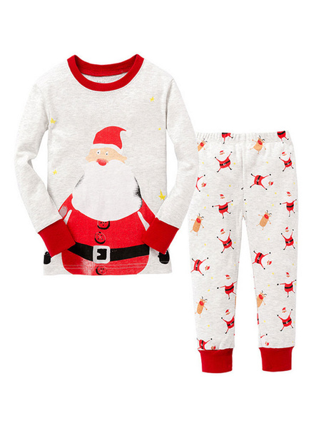 Milanoo Kids Christmas Pajamas Outfit White Santa Clause Pants And Top Set 2 Piece Halloween