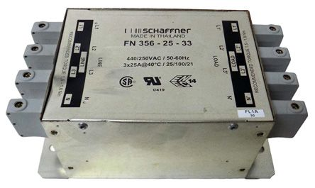 Schaffner , FN 356 25A 3 x 440/250 V ac 0 → 60Hz, Chassis Mount RFI Filter, Terminal Block 3 Phase