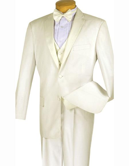Men's Ivory 4pc Two Buttons With Vest And Bow Tie Pleated Pants Tuxed