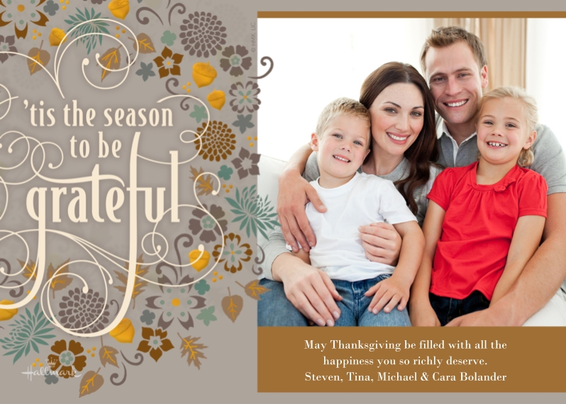 Thanksgiving Photo Cards Mail-for-Me Premium 5x7 Flat Card, Card & Stationery -Season to be Grateful