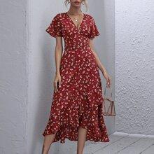 Kleid mit Rueschenbesatz, asymmetrischem Saum und Blumen Muster