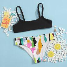 Girls Graphic Print Bikini Swimsuit