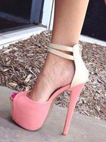 Milanoo High Heel Sandals Suede Platform Peep Toe Ankle Strap Sandal Shoes Women Sexy Shoes