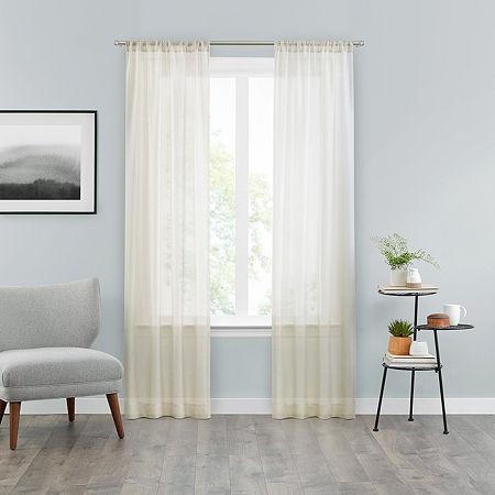 Vue Snow Sheer Rod-Pocket Set of 2 Curtain Panel, One Size , Beige