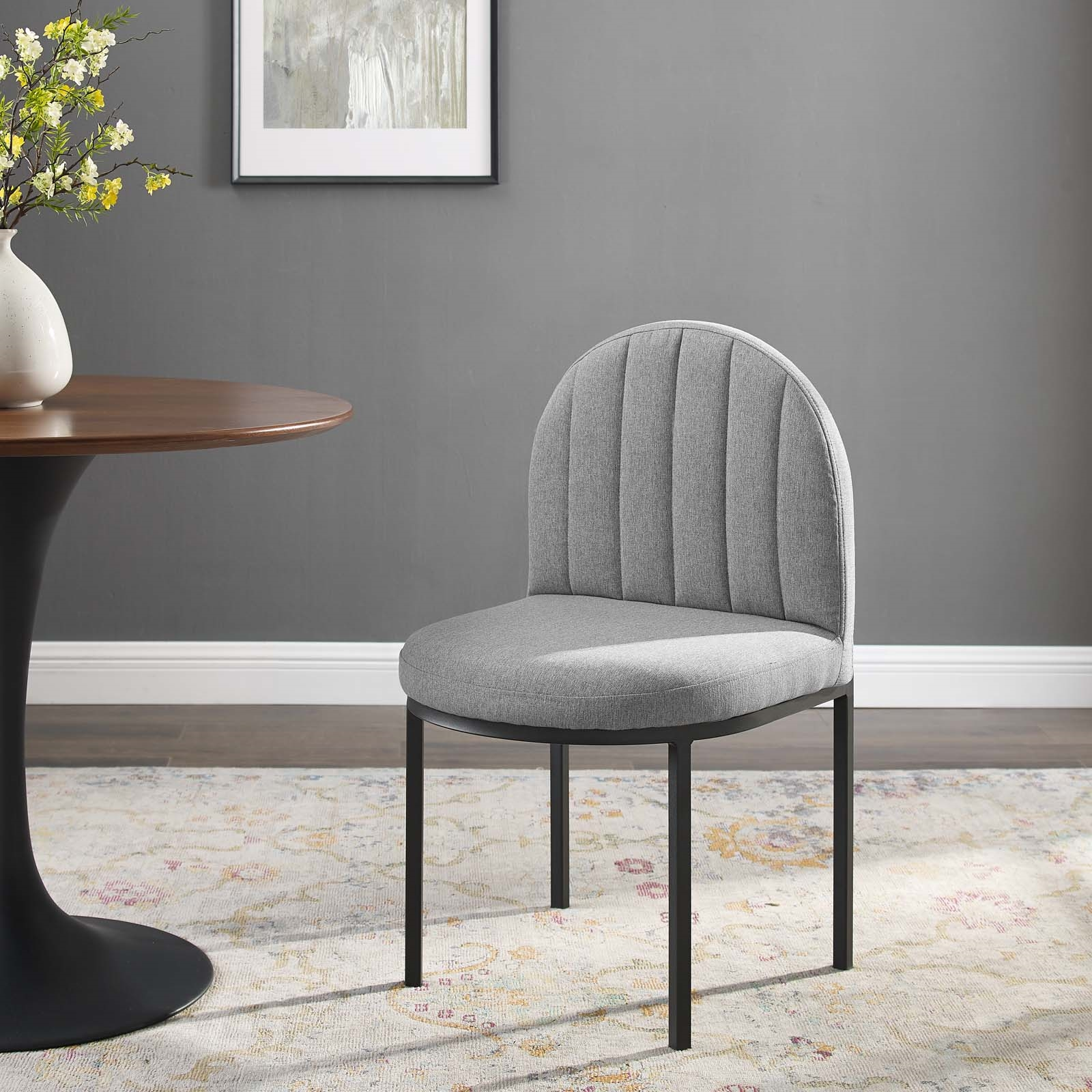 Isla Channel Tufted Upholstered Fabric Dining Side Chair in Black Light Gray
