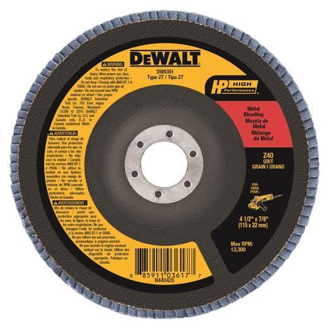 DeWalt 4-1/2 In. x 7/8 In. 40 g Type 27 HP Flap Disc