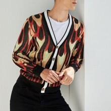 Men Single Breasted Graphic Pattern Cardigan