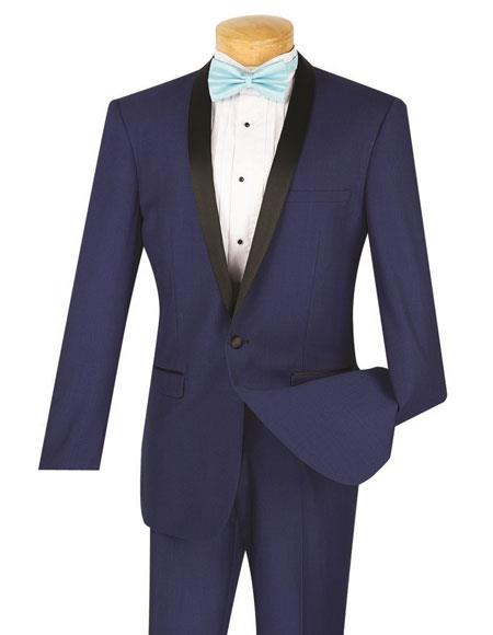 Mens One Button Single Breasted Slim Fit Tuxedo Blue Tux T-SS