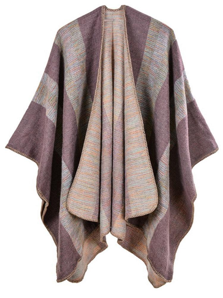 Vintage Striped Shawl Cardigan for Women