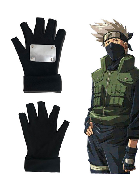 Milanoo Naruto Shippuden Hatake Kakashi Black Gloves Anime Cosplay Accessories