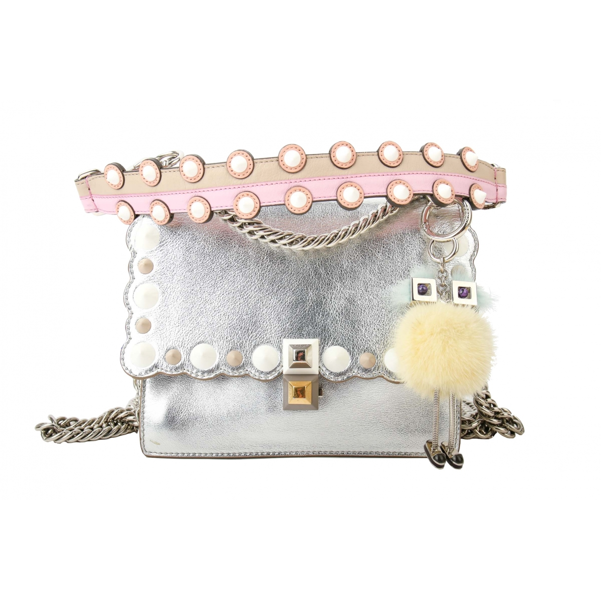 Fendi Kan I Handtasche in  Metallic Leder