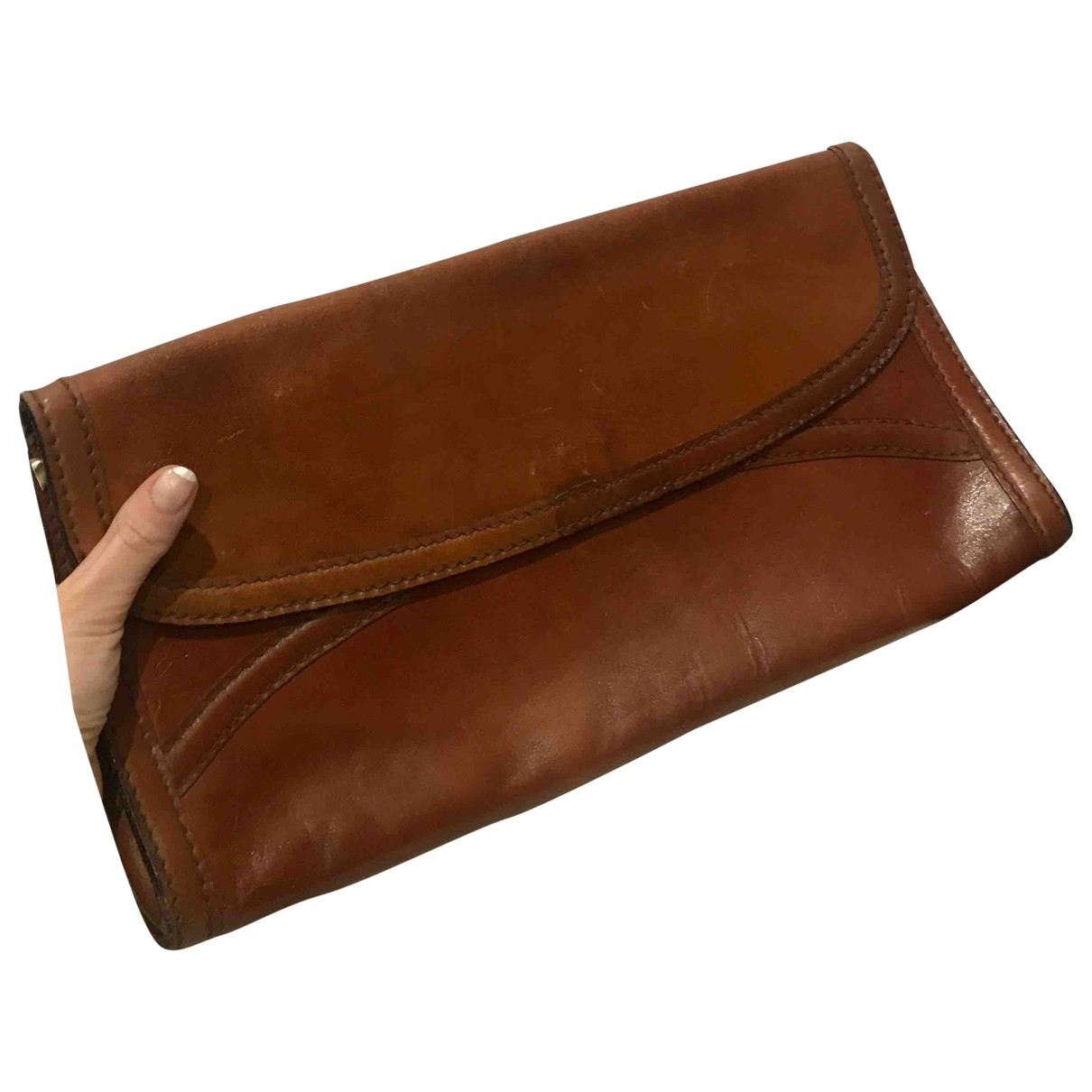 Non Signé / Unsigned Hippie Chic Brown Leather Clutch bag for Women \N