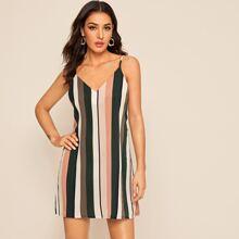 Cami Kleid mit V Kragen und Streifen