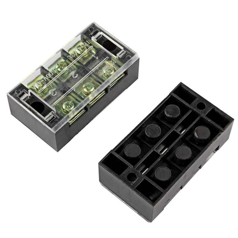 600V 45A 3 Position Terminal Block Barrier Strip Dual Row Screw Block Covered W/ Removable Clear Plastic Insulating Cove