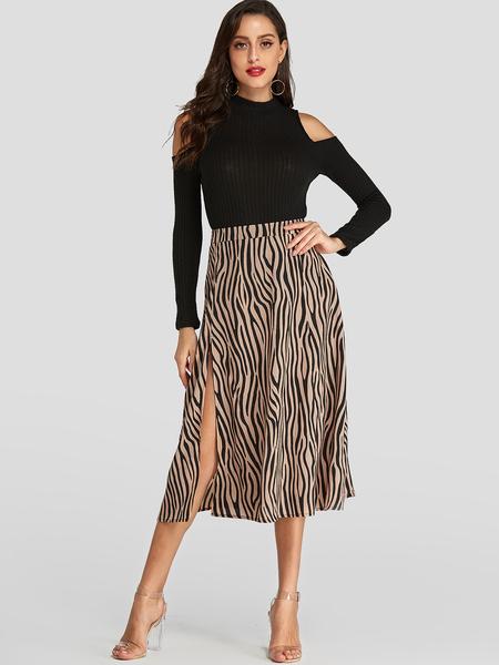 Yoins Zebra Pattern Slit Hem Mid Waist Zip Design Skirt